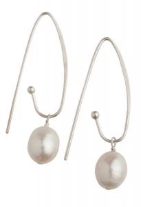 Coco White Pearl Earrings - Long Hooks