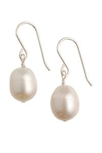 Coco White Pearl Earrings - Short Hooks