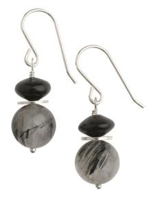 Infinity - Tourmalinated Quartz Earrings - Short Hooks